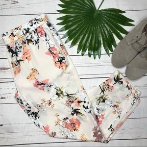 {Loft} sz M stretch waist floral ankle pants